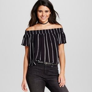 Xhilaration Black & White Stripe Off the Shoulder